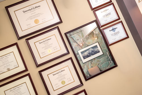 Mercer Island Dentist Office, Goichi Shiotsu, DDS, Wall of Certifications, Deplomas, and Awards